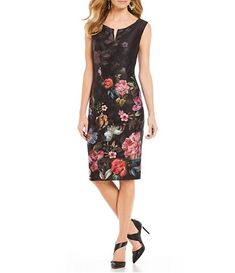 a4729ef89d3 Ignite Evenings Floral Print Notch Round Neck Scuba Sheath Dress Casual  Dresses
