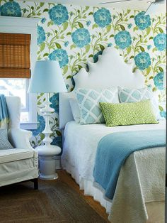 Love these colors and the lamp but also: Decorating Basics: Mixing Patterns consider the 60/30/10 approach. Use 60 percent of a favorite pattern, 30 percent of a second pattern, and 10 percent of a third as an accent. Try three patterns in a range of scales, such as a narrow stripe, a midsize geometric, and a bold floral. Include solids in supporting roles on a sofa or floor.