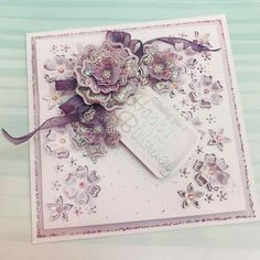 Chloes Creative Cards added a new photo. Flower Birthday Cards, Flower Cards, Chloes Creative Cards, Stamps By Chloe, Crafters Companion Cards, Birthday Cards For Women, Lace Wedding Invitations, Die Cut Cards, Card Tags
