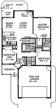 First Floor Plan of Narrow Lot   Ranch   House Plan 98880