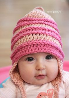 Crochet Edith Inspired Hat Pattern - Repeat Crafter Me - free pattern, pdf saved Crochet Kids Hats, Crochet Beanie, Cute Crochet, Knit Crochet, Crochet Headbands, Knitting Patterns, Crochet Patterns, Hat Patterns, Repeat Crafter Me