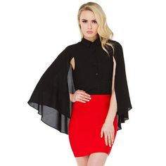 Chiffon Cape Women's  Sheer Blouse Feminine Black Blusas Camisa Feminina Sleeveless Tippe Shirt Tops