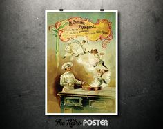 1893 La Cuisine Francaise - Francois Tanty - Chef of Napoleon III and the Czar or Russia // High Quality Fine Art Reproduction Giclée Print by TheRetroPoster on Etsy