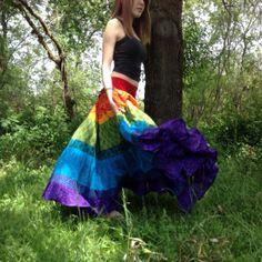 Skirt long rainbow striped twirly skirt by urbanprairiegirl, $168.00