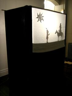 Shadow theatre Shadow Theatre, Toy Theatre, Fun Crafts For Kids, Diy For Kids, Preschool Set Up, Kids Stage, Monster Decorations, Reading Tree, Shadow Puppets