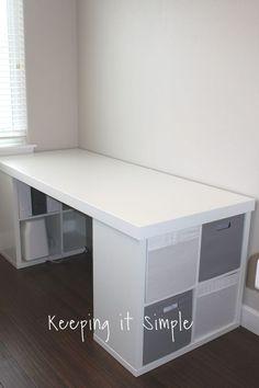 Ikea Hack- DIY Computer Desk with Kallax Shelves diy craft desk - Diy Diy Crafts Desk, Craft Desk, Craft Room Storage, Diy Home Decor Projects, Diy Crafts For Kids, Clay Crafts, Felt Crafts, Storage Ideas, Diy Storage Desk
