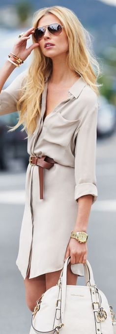 Billowy shirt dress. Would prefer a more bold color. This would wash me out.