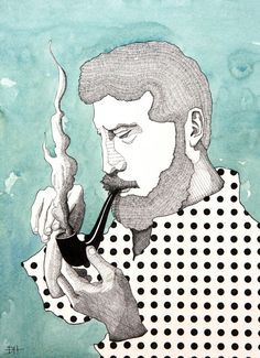 """Duncan Halleck--Pen and Ink Watercolor Illustration """"Man with Pipe."""" 2016"""