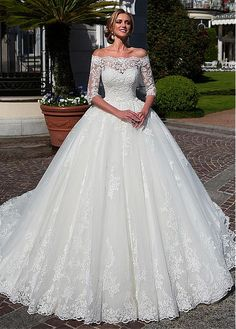 Buy discount Attractive Tulle Off-the-shoulder Neckline Ball Gown Wedding Dress With Lace Appliques & Beadings & Detachable Jacket at Ailsabridal.com