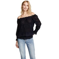 Temptation Positano Iris OTS top (7.860 ARS) ❤ liked on Polyvore featuring tops, navy, off shoulder long sleeve top, rouched top, crochet long sleeve top, blue off shoulder top and navy off shoulder top