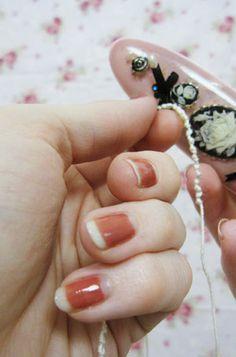 "Quaintrelle Life: Vintage Nails- ""Moon Manicure""- polish used is an OPI polish called Java Mauve-a"