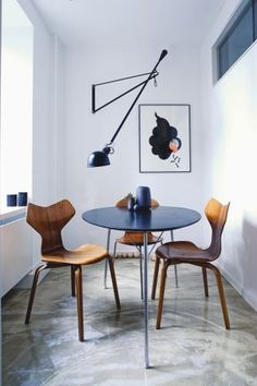 Super stylish chairs for the dining area of a kitchen.
