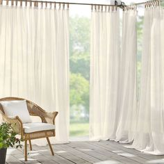Darien Indoor/Outdoor Sheer Tab Top Window Curtain For Patio, Porch, Cabana - 52 X 108 - White - Elrene Home Fashions : Target Sheer Curtains Bedroom, Porch Curtains, Ruffle Curtains, Tab Top Curtains, Sheer Drapes, Outdoor Curtains, Kitchen Curtains, Window Treatment Store, Window Treatments