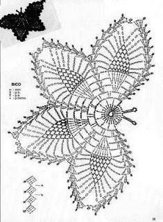 ergahandmade: Crochet Butterfly + Diagram + Free Pattern Step By Step Crochet Butterfly Pattern, Free Crochet Doily Patterns, Crochet Stitches Chart, Crochet Motifs, Crochet Diagram, Thread Crochet, Crochet Doilies, Free Pattern, Appliques Au Crochet