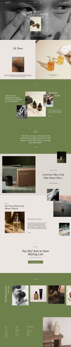 Sans Store Concept - A modern e-commerce concept and trendy, stylish web design for a modern, young and minimalist skincare brand. Web Design Trends, Ui Design, Design Social, Homepage Design, Layout Design, Branding Design, Flat Design, Newsletter Design, Stand Design