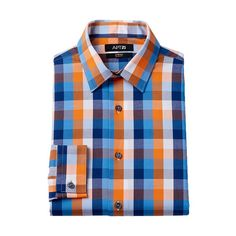 Men's Apt. 9 ® Slim-Fit Plaid Stretch Dress Shirt, Size: 17-32/33, Orange