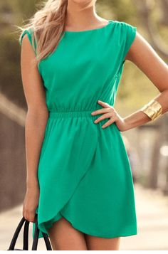 Emerald green summer dress.