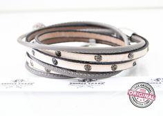 Armbänder - filigranes Armband hell/taupe Leder & Stras... - ein Designerstück von AT-Schmuck bei DaWanda