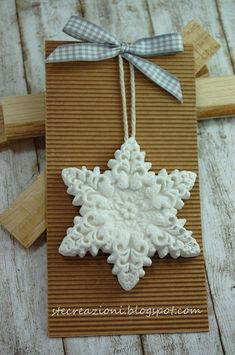 Clay Snowflake in a silicone mold