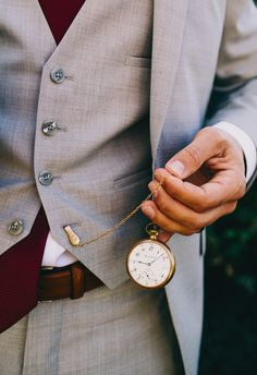 Grey suit, maroon tie, pocketwatch // Hyer Images