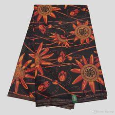 100% Cotton Ankara Fabric,Ghanaian Dutch Wax,black&orange Floral African Wax…