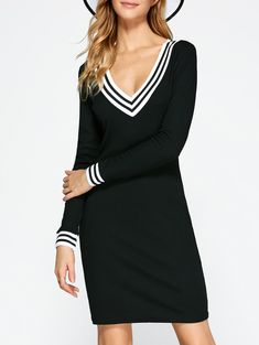 Plunging Neck Cricket Long Sleeve Knitted Dress in Black | Sammydress.com