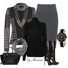 Tartan blazer, turtle neck and snood scarf, created by shauna-rogers on Polyvore