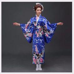 National Trends Women Sexy Silk Satin Kimono Yukata With Obi Novelty Evening Dress Japanese Cosplay Costume Flower One Size Satin Kimono, Traditioneller Kimono, Japanese Kimono Dress, Silk Satin, Polyester Satin, Kimono Geisha, Floral Kimono, Traditional Japanese Kimono, Traditional Dresses