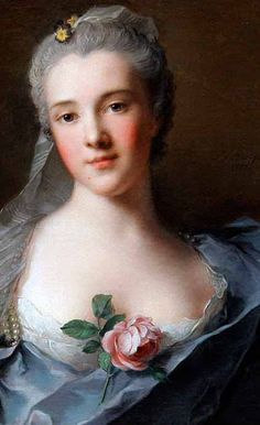 Portrait with rose by Rosalba Carriera (1675-1757)