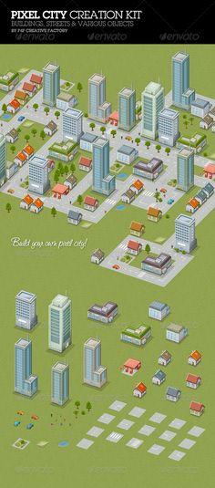 Pixel City Creation Kit — Photoshop PSD #pixel #kit • Download ➝ https://graphicriver.net/item/pixel-city-creation-kit/662615?ref=pxcr