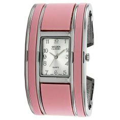 "Golden Classic Women's 2207_pink ""Fashion Muse"" Pink Bangle Watch Golden Classic. $21.60. Pink and silver bangle. Highest Standard Quartz Movement. Water-resistant to 99 feet (30 M). Coin edge silver metal bezel. Sunray silver dial; Silver numeral hour markers. Save 40% Off!"