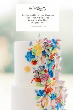 If you're a #TaylorSwift fan, you don't want to miss today's whimsical editorial! 💫 | LBB Photography: @bearmooseandfox #stylemepretty #weddingcake #butterfly #taylorswift #butterflyweddingcake #colorfulcake #uniqueweddingidea #uniqueweddingcake