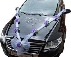 Hochzeit Deko Brautauto Autoschmuck Hochzeitsauto Autogirlande Rosen u. Schleife