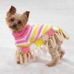 Dog Crocheted Shawl Sweater Clothes Warm Cozy s Small | eBay