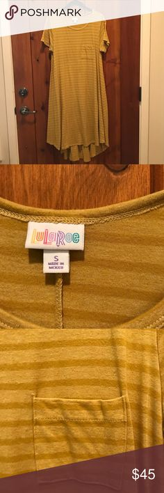 LuLaRoe Carly, size small LuLaRoe Carly, size Small. Mustard with dark mustard stripe. Excellent condition, cared for per LuLaRoe recommendations. Coordinates with LuLaRoe Sarah also listed in my closet. $45 LuLaRoe Dresses High Low
