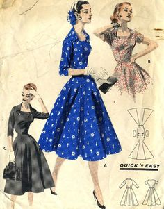 Vintage 50s Butterick 7615 Misses Quick and Easy by RomasMaison