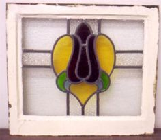 "OLD ENGLISH LEADED STAINED GLASS WINDOW floral heart design 20.25"" X 18"""