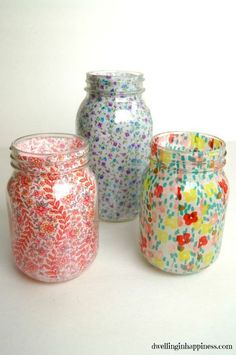 spring mason jar vases, crafts, decoupage, how to, mason jars, repurposing upcycling
