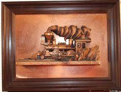 Copper ART 3-D Decor Locomotive Train Wood Framed 18.5 x 24.5 Vintage Nice!