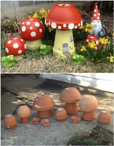 DIY Clay Pot Mushroom Toadstool Tutorials: Clay Pot Painting Crafts for Home and Garden Decor, Kids flower pot painting, mushroom DIY Tontopf Pilz Toadstool Tutorials Source by glsmcengiz Best and amazing diy ideas for your garden decoration 28 - GODIYGO. Flower Pot Crafts, Clay Pot Crafts, Diy Clay, Clay Flower Pots, Flower Pot Art, Flower Bed Decor, Cork Crafts, Flower Planters, Shell Crafts