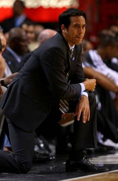 Miami Heat head coach Erik Spoelstra looks WORRIED. After all, the Knicks are coming!
