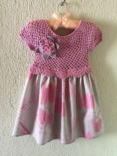 Baby Girl Crochet Pink Top Gray Pink Fabric Jumper Dress with