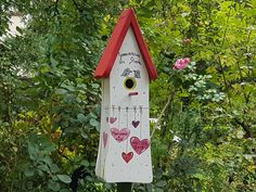 Dach Wedding gift, birdhouse wedding, with pole to put up-wedding gift birdhouse-nesting tower, weatherproof color - Außenbereich Farmhouse Paintings, Gifts For Colleagues, Bird Houses Painted, House Gifts, Birthday Gifts For Women, Garden Projects, Wedding Gifts, Creations, Etsy
