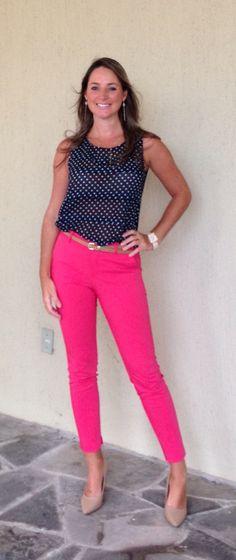 Look de trabalho - Look do dia - moda corporativa - pink - poá - calça rosa