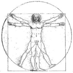 This is a very famous piece of art called 'The Vitruvian Man' created by Leonardo da Vinci in 1492.