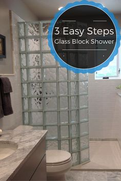 3 Easy steps for a glass block shower - learn how to make the shower base work as well!
