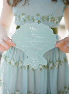 Beach Wedding Photos Have your menus printed on shell-shaped paper. - The second best thing to having your wedding under the sea. Beach Wedding Reception, Nautical Wedding, Wedding Menu, Wedding Reception Decorations, Wedding Themes, Wedding Favors, Wedding Planning, Wedding Invitations, Wedding Day