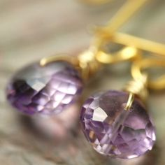 Wire wrapped February Birthstone Amethyst and Vermail earrings