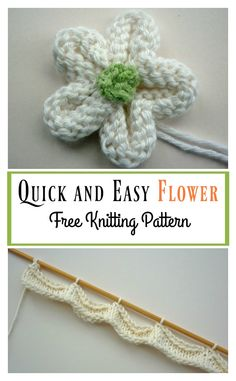 Quick and Easy Flower Free Knitting Pattern