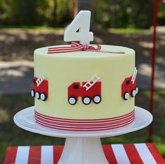Fire Truck Party Cake the fire trucks on the side are super cute as is that ribbon border! Cupcakes, Cupcake Cookies, Cake Pops, Fire Engine Cake, Fireman Cake, Fireman Party, Fire Fighter Cake, Tom Y Jerry, Truck Cakes